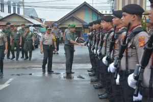 Jaga Sinergisitas TNI - POLRI  Jelang Pemilu 2019, Korem 042/Gapu dan Polda Jambi Apel Bersama