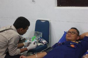 HUT ke 69, Ditrpolairud Gelar Donor Darah