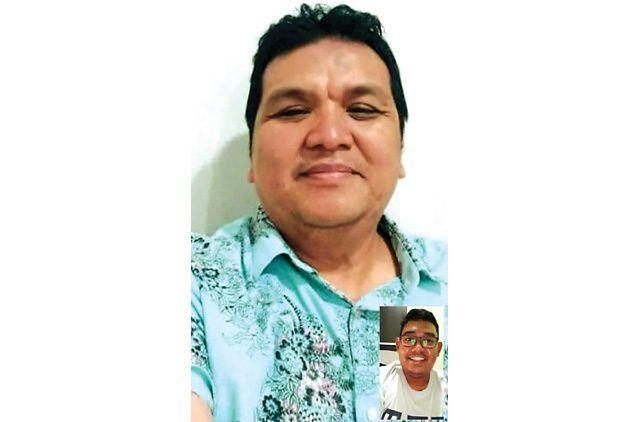 VIDEO CALL: Kepala KKP Kelas 1 Surabaya dokter M. Budi Hidayat bercerita tentang penyembuhannnya setelah dinyatakan positif Covid-19. (GALIH PRASETYO/JAWA POS)