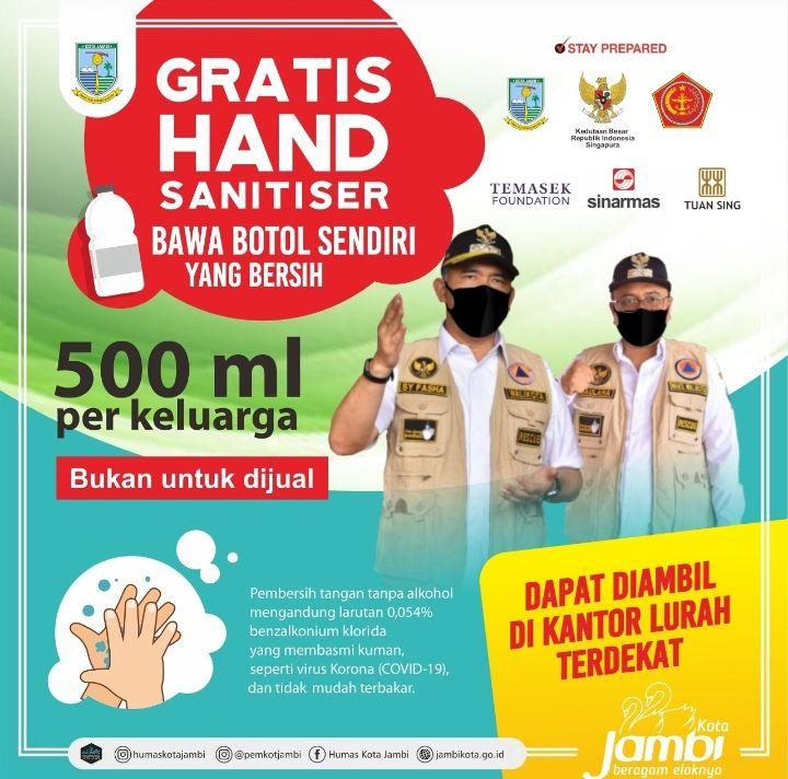 Pemkot Bagikan Hand Sanitizer Gratis.