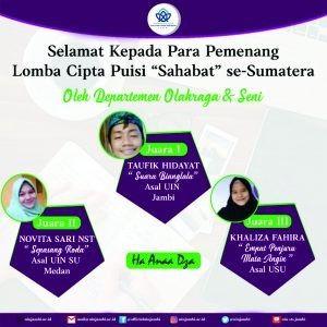 "Mahasiswa Tarbiyah UIN STS Raih Juara 1 Lomba Cipta Puisi ""Sahabat""se-Sumatera"