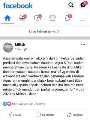 Tak Didukung, Tim Fachrori Bereaksi Minta Fachrori dan Rahima Mundur dari NasDem
