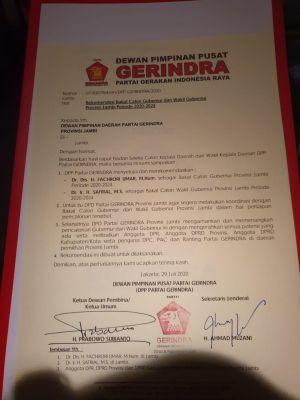 Beredar SK Rekomendasi Dukungan Gerindra ke Fachrori-Safrial, Tim: Penyerahan Setelah Idul Adha
