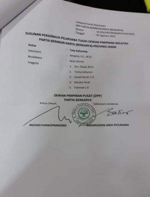 BREAKING NEWS! Beredar Surat Pembekuan Pengurus DPW Berkarya Jambi