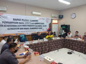 Hasil Pleno KPU, Tiga Paslon Pilgub Belum Memenuhi Syarat
