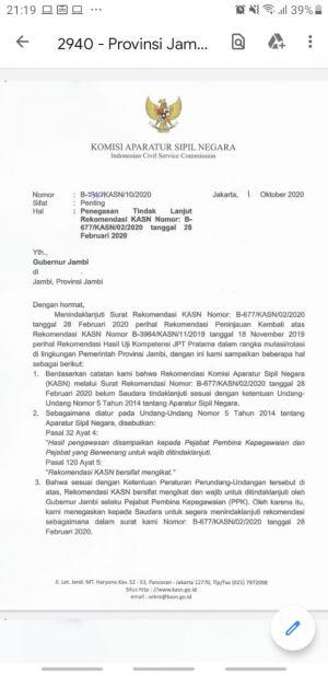 KASN Kembali Surati Gubernur Jambi,Minta Enam Pejabat Nonjob Dikembalikan ke Jabatan Semula