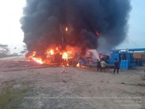 Sumur Minyak Pertamina Terbakar,  Terdengar 4 Ledakan