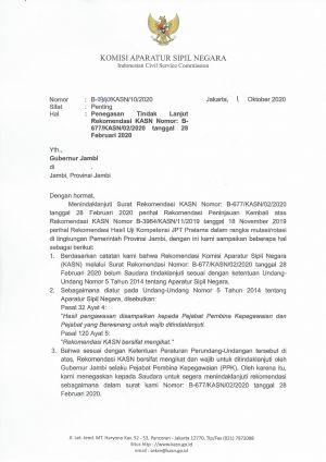 KASN Kembali Surati Gubernur Jambi