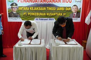 PTPN VI  Teken Kesepakatan Bersama Penanganan Masalah Perdata dan TUN dengan Kejati Jambi