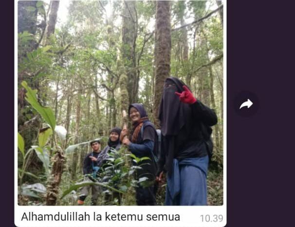 Tiga Mahasiswi UIN Jambi yang Hilang di Gunung Masurai Ditemukan Selamat